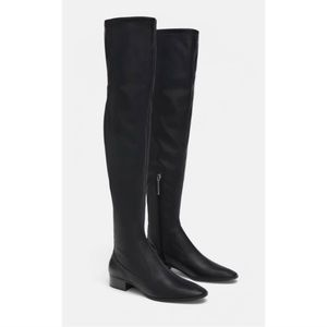 Zara Studded Over The Knee Faux Leather Boots